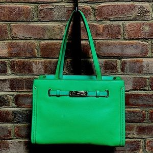 COACH Green Swagger Tote Pebble Leather